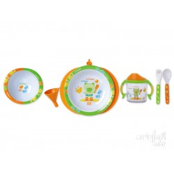 New Crockery 5 pieces thermo plate, orange model