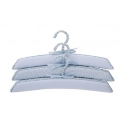 Set of 3 hangers lined fabric Punto Blanco Celestial