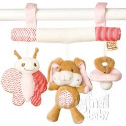 Pink bunny rattle little friends