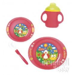 New Dinnerware for Microwave 4pieces Pajaritos Red