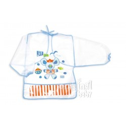 Plastic bib with blue sleeves