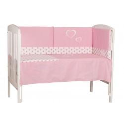 Crib comforter and protector 60 x 120 pink hearts