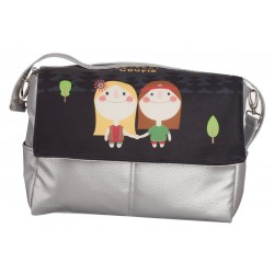 Gray leather bag Hippies